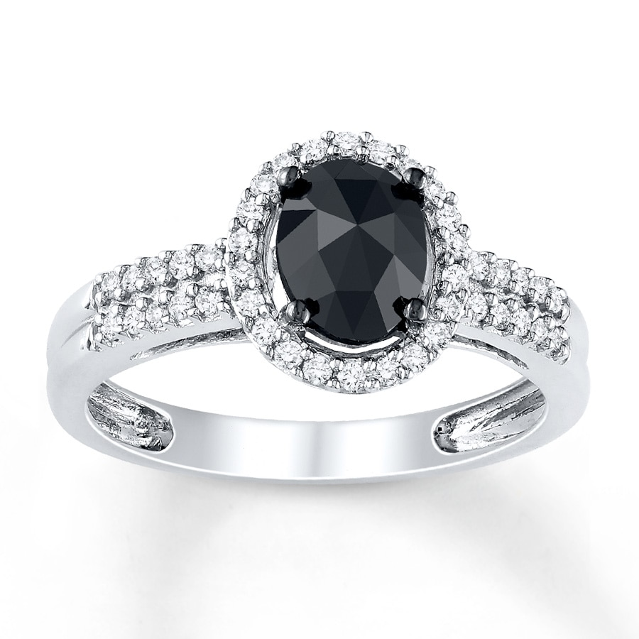 Jared Black Diamond Ring 1 ct tw Ovalcut 14K White Gold