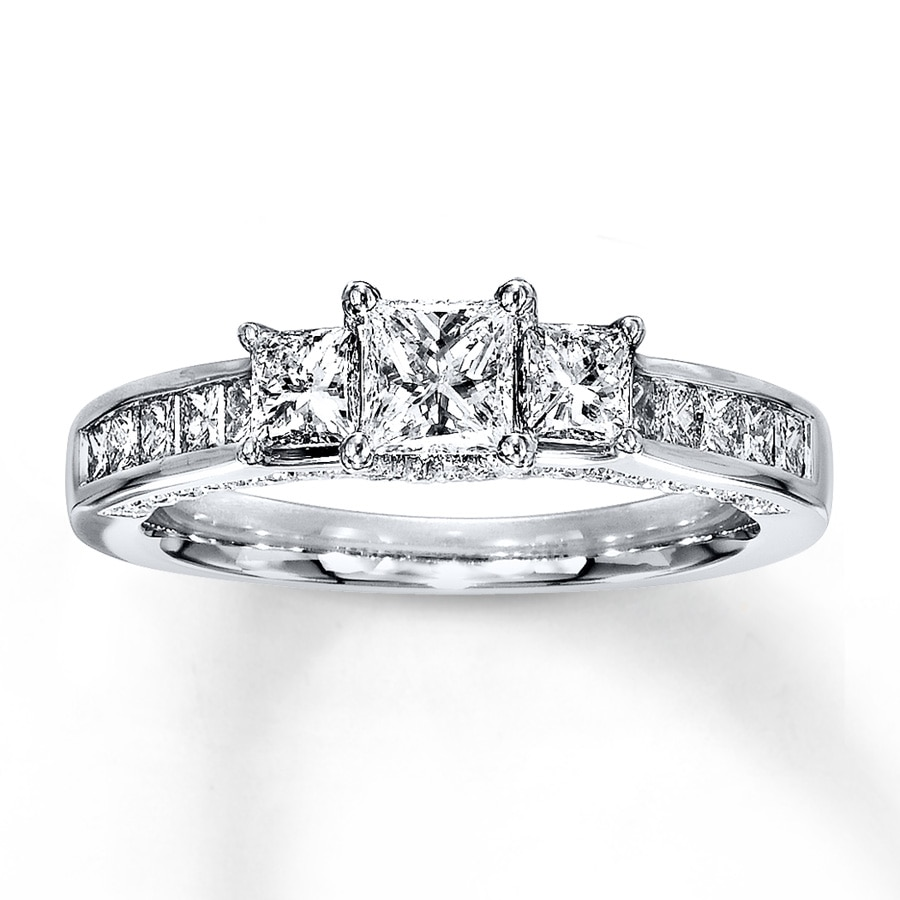 a70e8b994 3-Stone Diamond Ring 1-1/2 ct tw Princess-cut 14K. Tap to expand