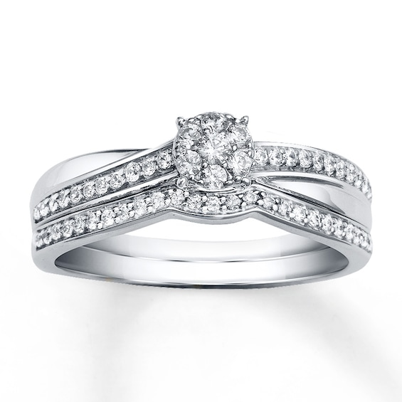 Diamond Bridal Set 1/3 ct tw Round-cut 10K White Gold