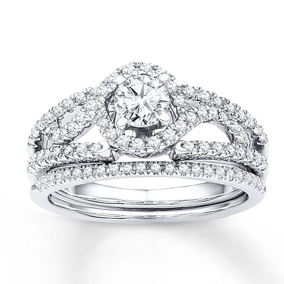 Diamond Bridal Set 3/4 ct tw Round-cut 10K White Gold