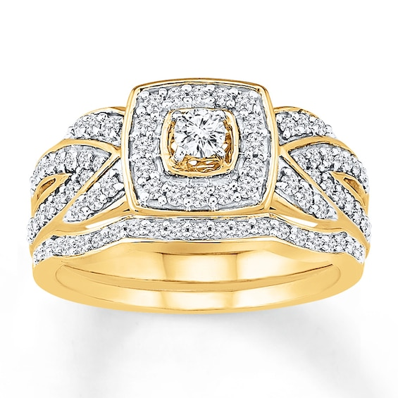 Diamond Bridal Set 5/8 Carat tw 10K Yellow Gold
