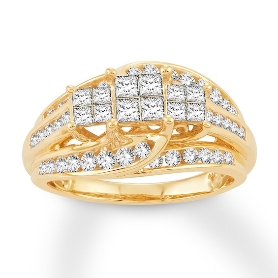 Diamond Engagement Ring 1 ct tw Princess/Round 10K Yellow Gold