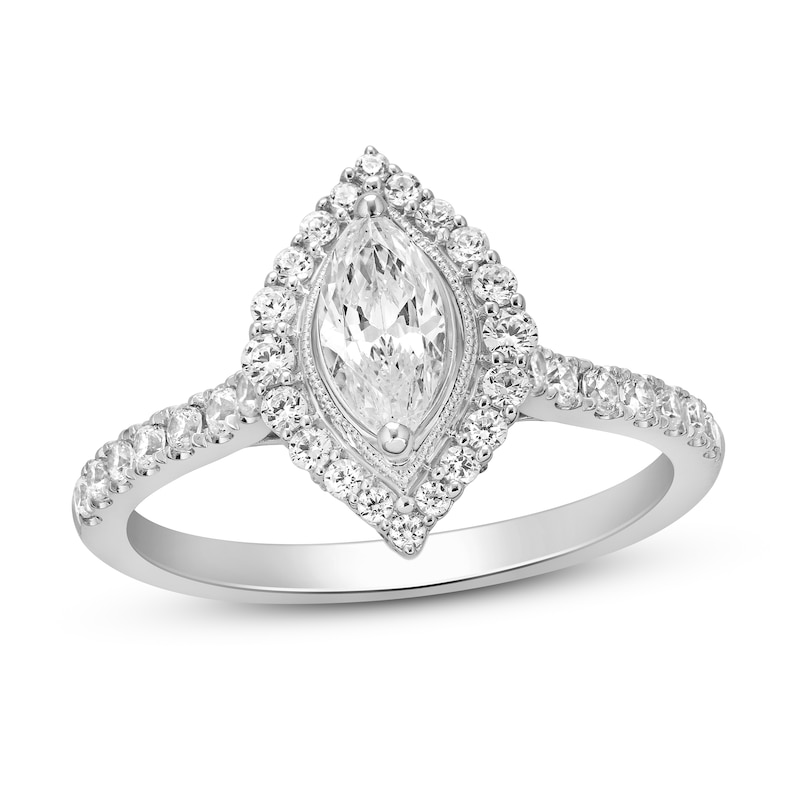 Diamond Engagement Ring 1 Ct Tw Marquise Round Cut 14k White Gold Kay Outlet